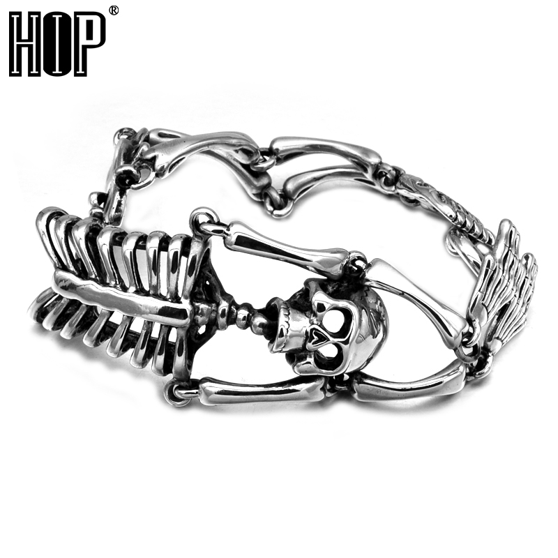 HIP Punk Gothic Stainless Titanium Steel Skeleton Skull Men's Chain Bracelet Bangle for Men Jewelry цена