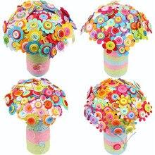 Креативный цветок на пуговицах для детей, сделай сам, ручная работа, цветок, развивающая игрушка