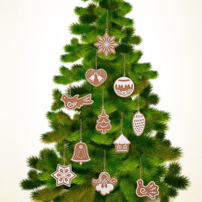 11pcs cartoon animal snowflake biscuits hanging christmas tree