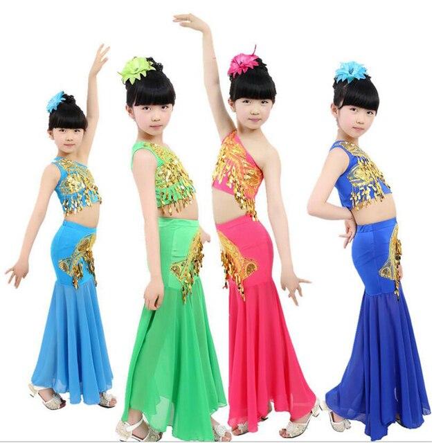 ebe18835d Children's Chinese Folk Dance Clothing Custom Dai Dance Peacock Dance  Costume Girls Children Dance Dress