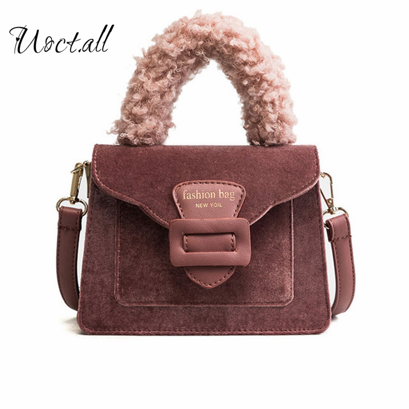 Original Brand Woman Bag Ladies Luxury Velour Handbag Fur Handle Messenger Shoulder Bag Ladies Sweet Women Crossbody Bag