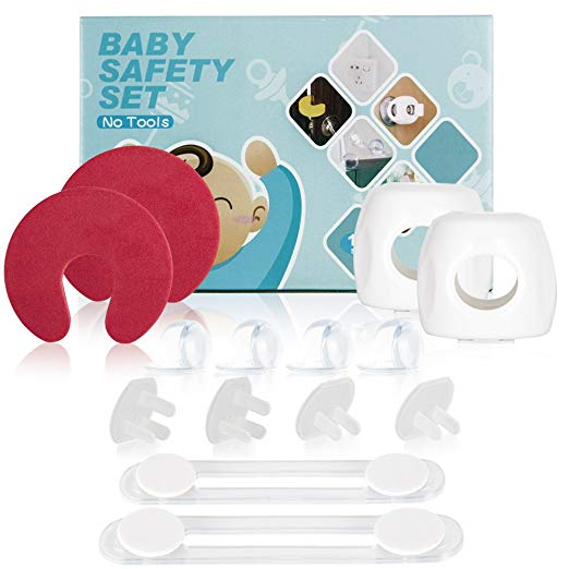 Baby Safety Set-Baby & Child Proof Cabinet & Drawer Safety Locks, Furniture Clear Corner Protectors Outlet Plug Covers