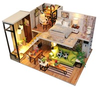Doll house diy Miniature with Furniture Wooden DollHouse Kit Creative Room for Christmas Gift Idea