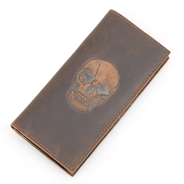 Billeteras De Cuero de Caballo loco Billetera Clásico Nuevo Cráneo Diseñador Largo de Cartera Para Hombre 8114R