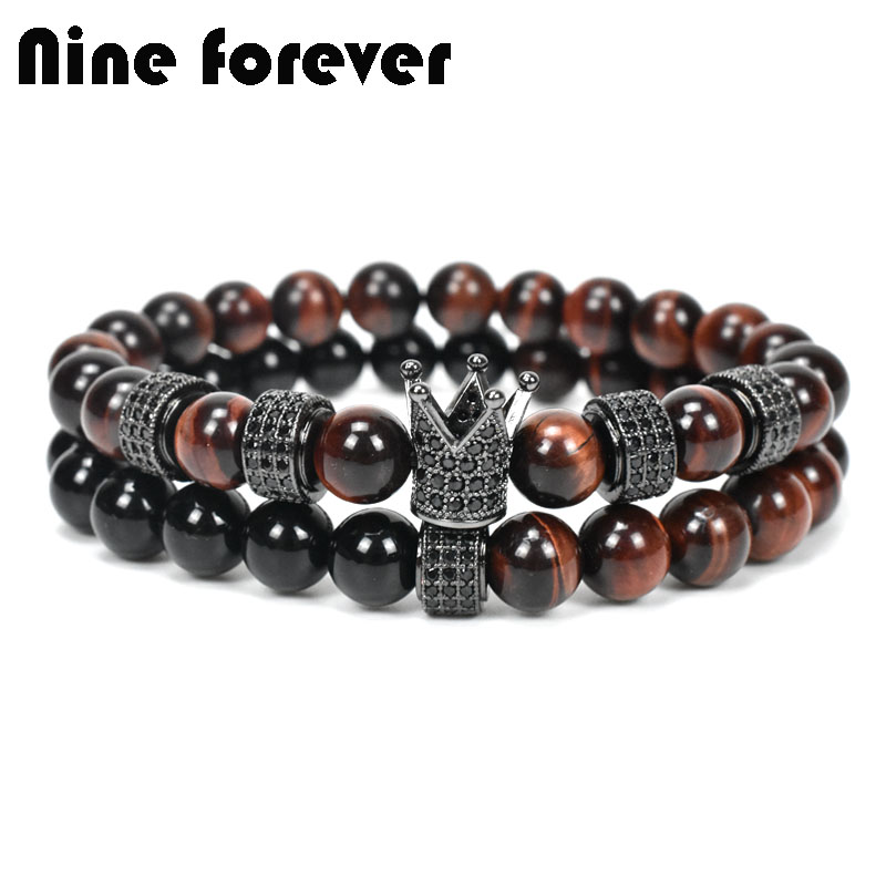 Nine forever natural red stone beads bracelet men jewelry crown charms bracelets for women pulseira masculina femme bileklik