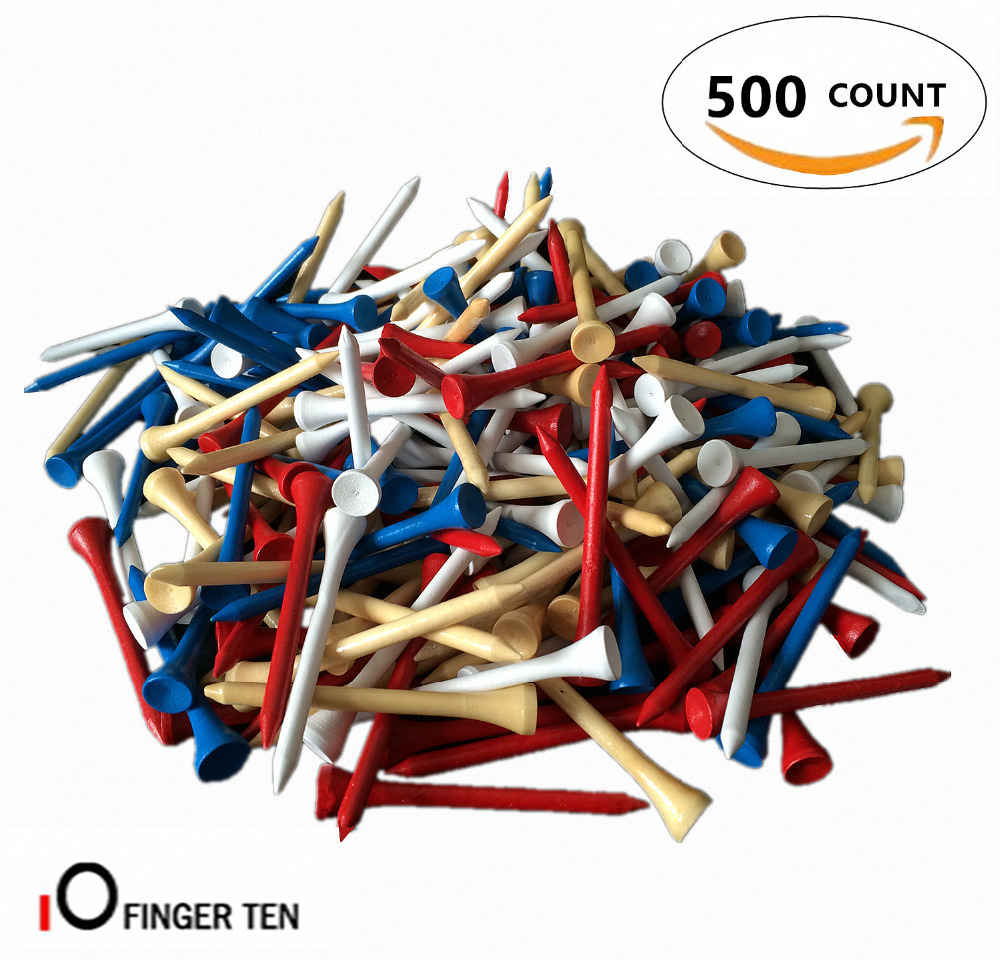 Golf Wood Tees Training Aid 500count/pack 70mm 2 3/4 Inch Driving Range Blue Red White Wood Mixed Colors Golf Tees Golfer Set