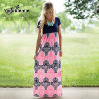 Summer Dress Mother Daughter Active Print Short Sleeves Long Dresses Girls Fashion Black Pink Patchwork Family