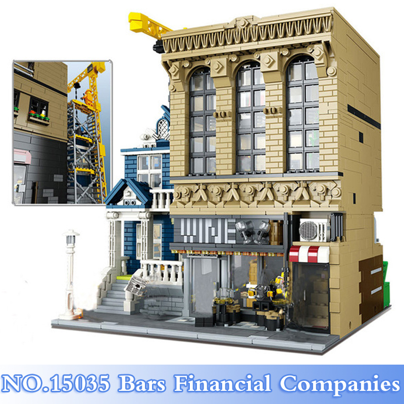 15035 Lepin City Series 2841Pcs Bars and Financial Companies Figure Building Blocks Bricks Set Toys For Children Model Kits Gift lepin 02006 815pcs city series police sea prison island model building blocks bricks toys for children gift 60130