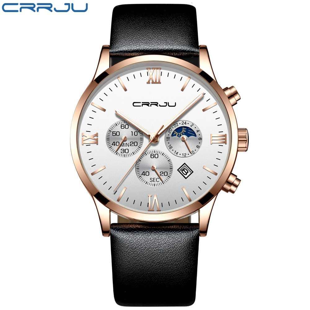 גברים פנים גדולים קוורץ שעון CRRJU עסקים סטופר חגורת עור שעונים זוהר גברים רטרו ספורט שעונים Relogio Masculino