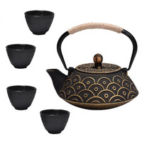 Cast Iron Tea Set Kung Fu Tea Pot Cup With Filter Metal Teapot Caneca 5pcs
