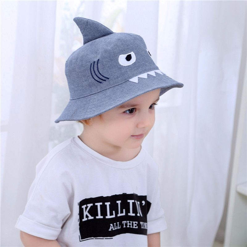 a7f8a0aa 3D Shark Design Baby Sun Hat Infant Boys Girls Beach Hat Cotton Toddler  Kids Summer Hat Sun Protection Bucket Hat 0 6Y-in Hats & Caps from Mother &  Kids on ...