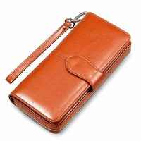 2017 New Luxury Brand 100 Oil Wax Cowhide Leather Women Wallet Phone Pocket Purse Wallet Female