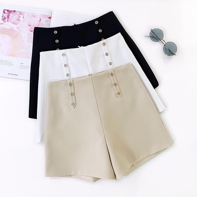 GUMPRUN 2019 New Women Solid color Button   Shorts   Summer Casual Women High Waist Wide Tube Women Office Lady   Shorts