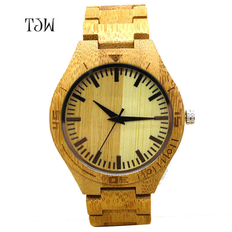где купить TJW New Men's Wood Watch Sport Watches Men Waterproof Bamboo Wooden Watch Fashion Leather Man Quartz Wristwatch as Gift Item по лучшей цене