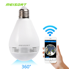 Meisort Lamp LED Licht wifi IP Camera Wi-fi Fisheye 960 P 360 graden CCTV VR Camera 1.3MP Home Security WiFi Panoramisch Camera(China)