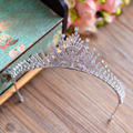 Top Quality European Brides Crown Cubic Zirconia Tiara Crystal Headpieces Evening Hair Accessories