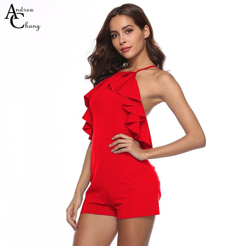 2150bf97c3 Wiosna lato kobieta kombinezon czarny niebieski bordowy czerwony kombinezon  potargane klatki piersiowej crossed pasek powrót moda