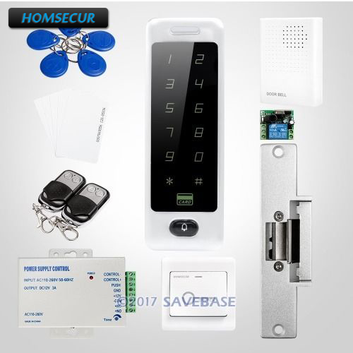 HOMSECUR Rectangle Silver 125Khz RFID Access Control System With Touch Keypad + NO Strike Lock Easy To Install цена