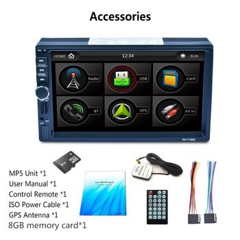"7"" 2-Din Car Touch Screen Stereo Bluetooth MP5 Player GPS AUX North America Map"
