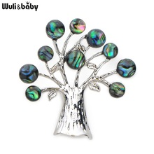 Wuli&Baby Rhinestone Natural Abalone Shell Tree Brooches For Women Alloy Metal Life Tree Plants Banquet Weddings Brooch Gifts
