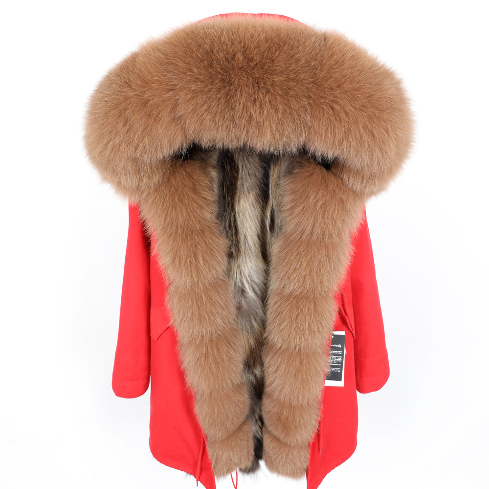 Maomaokong winter women's clothing Fox fur big fur collar Pike long section Detachable thick raccoon fur lining Park coat