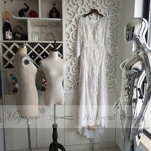Image 2 - Mryarce מעודן תחרה ארוך שרוול ללא משענת חתונת שמלת 2019 Boho שיק שמלות כלה שמלות הכלה robe de mariage