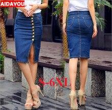 Women Tall Denim skirt Knee Length Plus Size High Waist Pull On Button Front mid thigh no pocket 3XL 5XL 12 16 ouc348