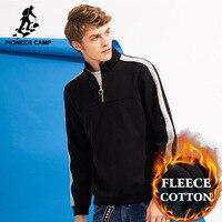 Pioneer Camp Patchwork Zipper Hoodies Men Brand Clothing Thick Fleece Winter Male Sweatshirt Quality Cotton Tracksuit