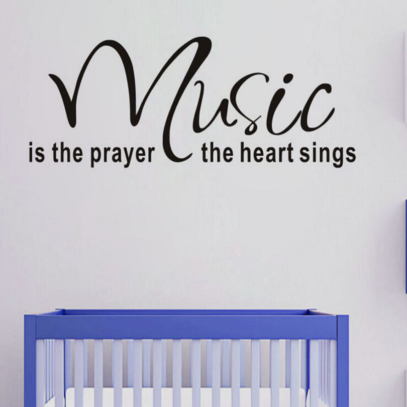 MAARYEE 57*17cm Music Is Prayer Wall Stickers Decals