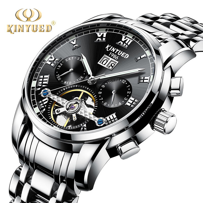 KINYUED Automatic Mens Mechanical Watches Business Stainless Steel Luminous Top Brand Watch Men Full Calendar Relogio Masculino tevise men black stainless steel automatic mechanical watch luminous analog mens skeleton watches top brand luxury 9008g
