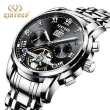 aafb7839423 KINYUED Inoxidável Automatic Mens Relógios Mecânicos Negócio Calendário  Luminosa Marca de Topo Homens Relógio de Aço