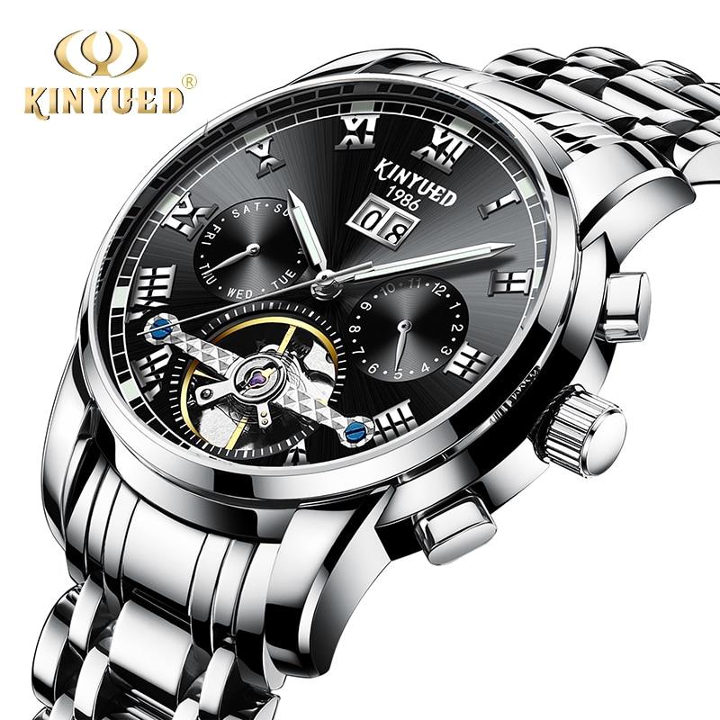 KINYUED automatyczne męskie zegarki mechaniczne biznesu ze stali nierdzewnej Luminous Top marka zegarek mężczyźni pełna kalendarz Relogio Masculino w Zegarki mechaniczne od Zegarki na  Grupa 1