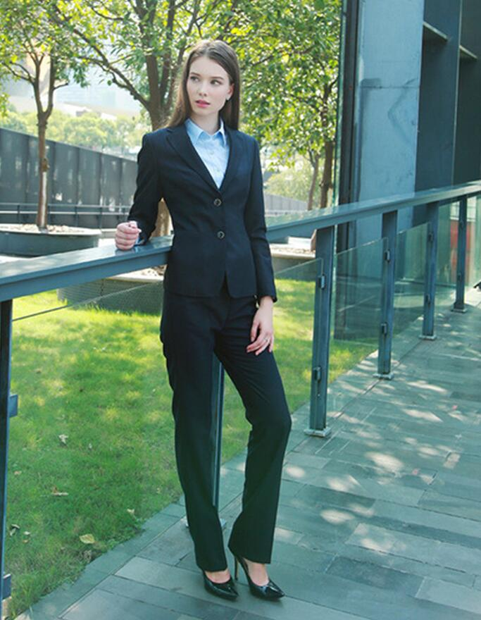 7454cbf6755 Custom made Light Gray Women Career Work Business Suits Formal Office  Western-style Pants Suits Jacket+Pants