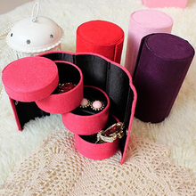 Fashion velvet three-cylinder portable multi-functional necklace rings jewelry Flannel Round storage box gifts Box
