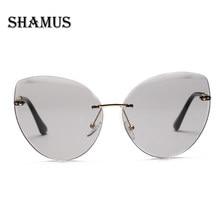6e858beb25 SHAMUS Luxury Cat Sunglasses Rimless Women 2018 Brand Designer Sunglass  Gradient Lense Eyewear Eyeglasses Women Vogue Sun Glass
