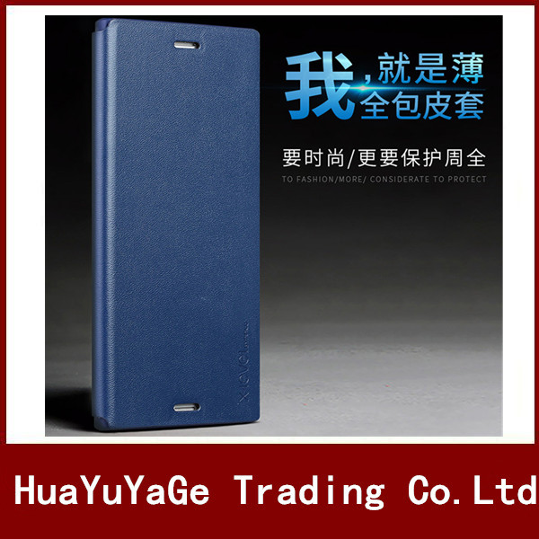 Téléphone Cas X-Niveau ultra mince Anti-chute Flip En Cuir PU + TPU Stand Cas de couverture Pour Sony Xperia E5 X Performance XA XZ C6 Ultra