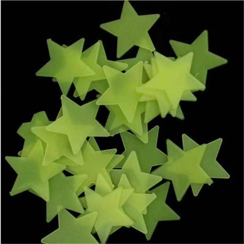 50 unids 3.8 cm 3d diy pegatinas de pared luminosa estrella y de la luna etiquet