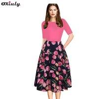 Oxiuly Women Vintage Dress 1950s Style Floral Print Party Dress Patchwork Elegant Female A Line Skater