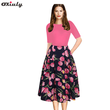 Oxiuly Women Vintage Dress 1950s Style Floral Print Party Dress Patchwork Elegant Female A Line Skater Dress christmas print skater party dress