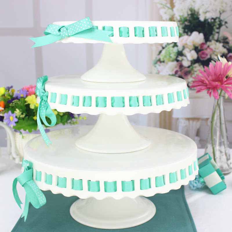 online shop inch ceramic tableware cake pallet party cake stand dessert fruit plate wedding baby birthday ribbon pastry stand aliexpress mobile