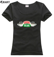 central perk Cafe friends tv show logo couple clothes girl woman female o-neck cotton short-sleeve T-shirt