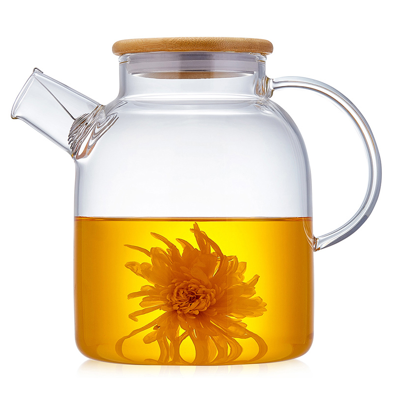 High Quality Glass Teapot For Tea Kettle With Whistle Stainless Steel Infuser Bamboo Lid Tea Party Puer Tea Pot ContainerHigh Quality Glass Teapot For Tea Kettle With Whistle Stainless Steel Infuser Bamboo Lid Tea Party Puer Tea Pot Container
