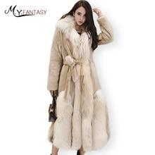 M.Y.FANSTY Winter 2017 Swan Velvet Real Mink Fur Coats Import White Gold Fox Fur Collar Coat Women's X-Long Causal Mink Coats
