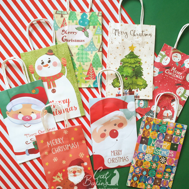 Us 6 95 Colourful Santa Claus Christmas Tree Snowman Gift Snowflake Hand Bag Candy Boxes Gift Boxes For Baking Decoration Package In Gift Bags