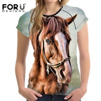 FORUDESIGNS 2018 New Summer T Shirt Women Fashion T Shirt Harajuku Femme Tops Horse T Shirt
