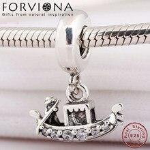 4fc7191e97d5 Auténtica Plata de Ley 925 de góndola veneciana barco colgante encanto Fit  Original de las mujeres de la pulsera de Pandora y br.