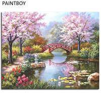 FramedPAINTBOY рамка лаванды цветы DIY картина маслом по номерам ручная роспись холст домашний декор 40*50 см GX3052