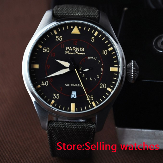 47mm Parnis Black Dail Luminous Marks Power Reserve Automatic Mens Watch hot sale 46mm parnis black dial power reserve white marks automatic men wrist watch