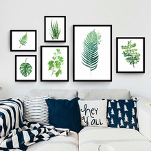 Nature green plant fern leaves tropical sunny summer garden best home wall decor oil canvas printing creative design sofa poster