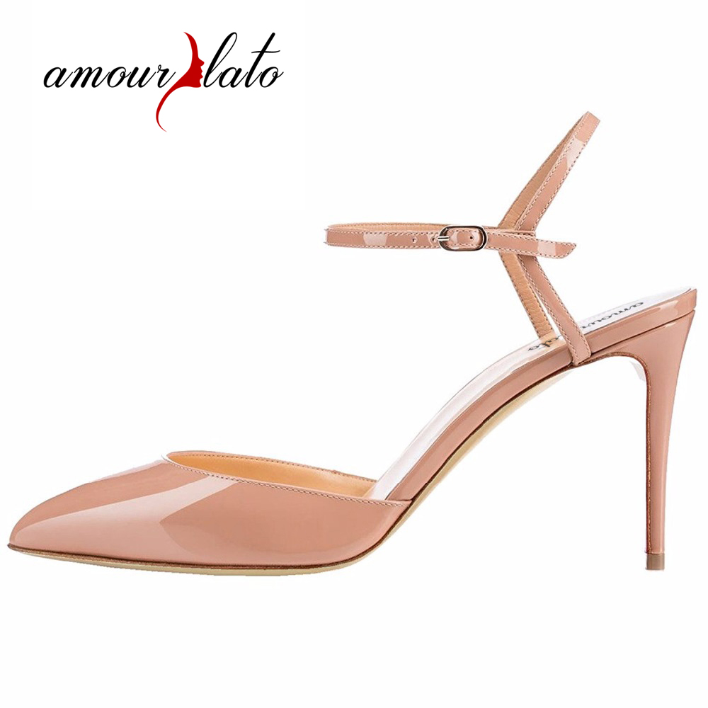 Amourplato Women's 100mm High Heel Ankle Strap Sandals Pointed Toe Patent Party Wedding Dress Shoes Buckle Closure amourplato women s fashion pointed toe high heel sandals crisscross strap pumps pointy dress shoes black purple size5 13